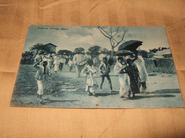 Filipino Band Village Scene German Postcard 1910's-20's