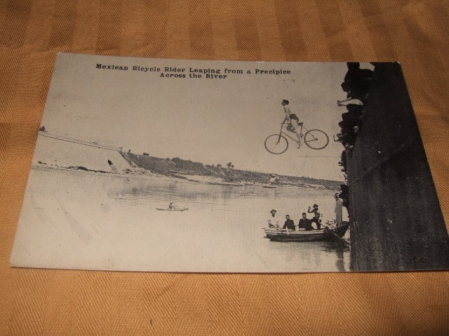 Mexican Bicycle Rider Leaping Black And White 1920's? Postcard