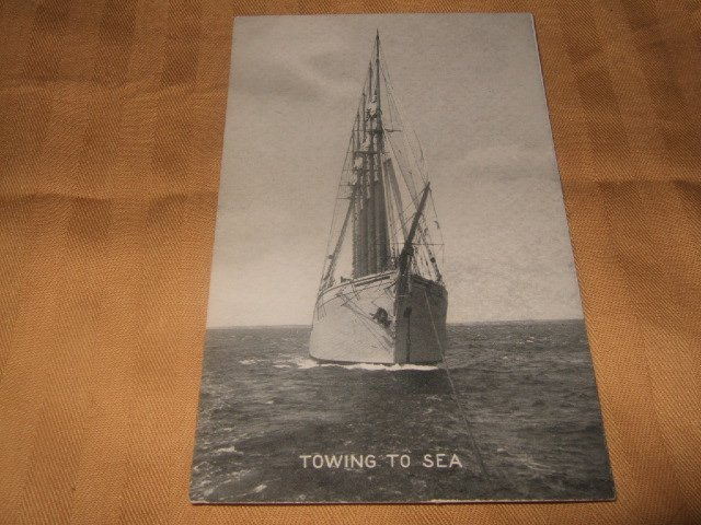 Towing To Sea 1910's Black And White Ship Postcard