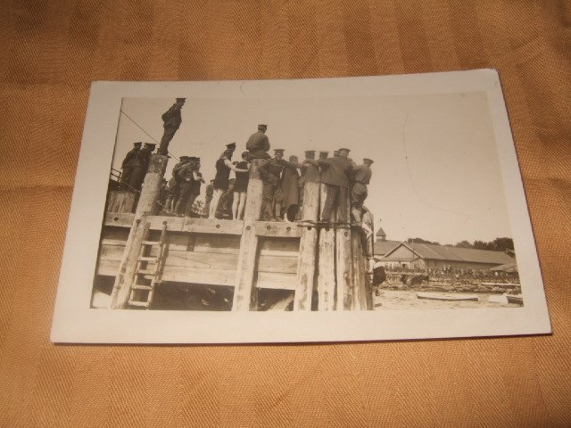 Black And White Dock Scene Postcard 1910's