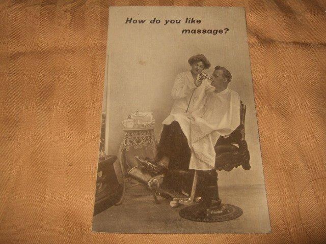 How Do You Like Massage? Postcard 1910's