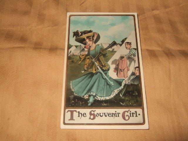 The Souvenir Girl 1910's Postcard