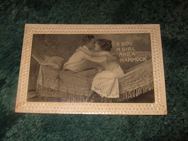 A Boy A Girl And A Hammock 1910's Postcard