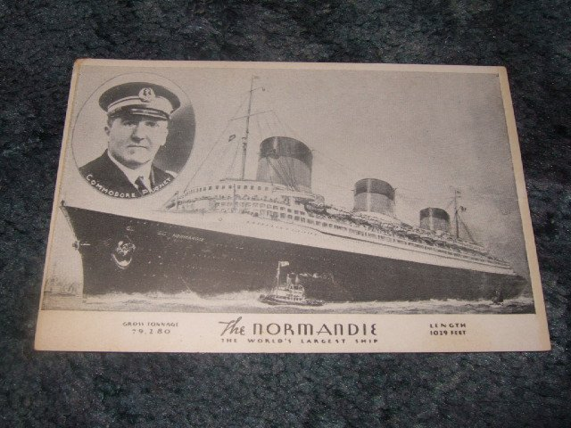 The Normandie World's Largest Ship Black And White Postcard 1910's