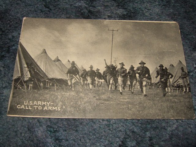 U.S. Army A Call To Arms 1910's Black And White Postcard