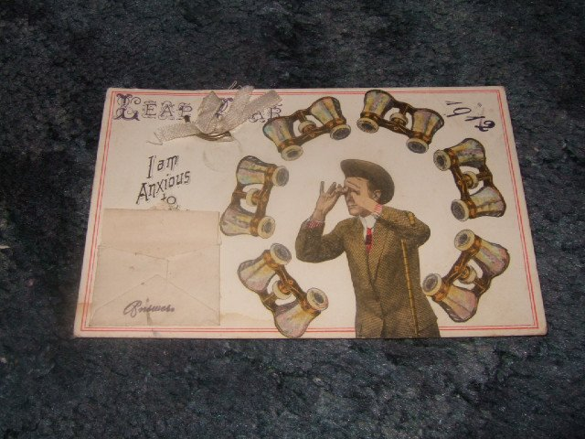 Leap Year 1912 With Attached Answer Card Postcard