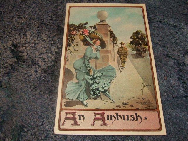 An Ambush 1910's Army Postcard