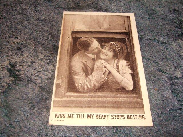 Kiss Me Till My Heart Stops Beating 1910's Postcard