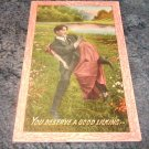 You Deserve A Good Licking 1910's Postcard