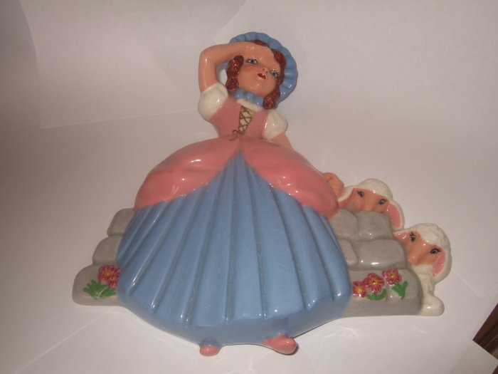 Colorful Unmarked Little Bo Peep Wall Plaque 8.5 Inches Tall