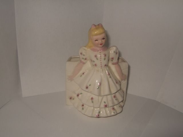 Unmarked White Florence Planter Gold Hair 6 Inches Tall