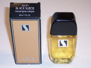 Vintage Avon Black Suede Natural Spray Cologne in Box