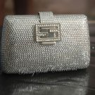 SILVER SWAROVSKI CRYSTAL EVENING BRIDAL PURSE - FREE SHIPPING