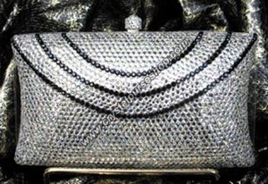 Fancy Silver Pillow Crystal Evening Bag