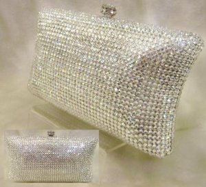 Silver Pillow Crystal Evening Bag