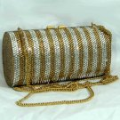Silver Gold Scroll Crystal Bag