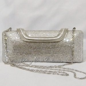 Long Silver Crystallized Clutch Purse