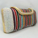 Long Multicolor Crystal Clutch Bag