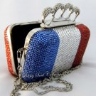 FRANCE FLAG CRYSTAL CLUTCH BAG
