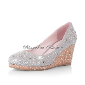 Gray Crystal Wedge Women Sandals
