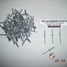 "New ALUMINUM POP RIVETS Large Flange 100pcs 1/8"" x 5/8"" FREE SHIPPING IN U.S.A."