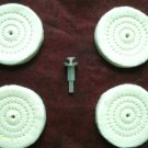 "NEW (4) 3"" FULL SEWN polishing BUFFING WHEEL w/ 1/4"" ARBOR inc. 1 METAL MANDREL"