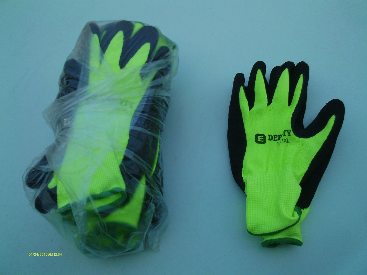 8 PRS HI-VIS LATEX COATED WORK GLOVES GENERAL PURPOSE E-DEPUTY XL #161