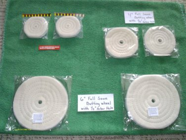 """(6) 3, 4 & 6"""" DIA COTTON polisher BUFFING WHEELS 1/4 & 1/2 ARBOR HOLES 1/2""""THICK"""