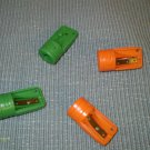 4 PLASTIC CARPENTER PENCIL SHARPENERS (2) ORANGE & (2) GREEN  NEW