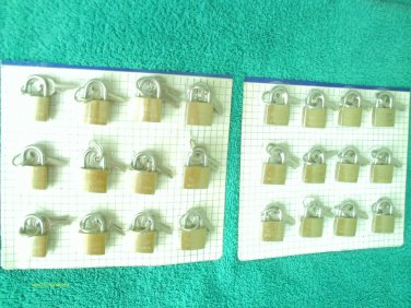 24 small metal brass padlocks 3 keys each luggage, locker NEW/sealed