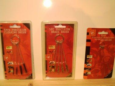 3 BRUSH sets W/RING BRASS, NYLON w/ STIFF BRISTLES MINI MICRO PRECISION NEEDLE
