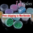 12 x Glitter Crushed Shell Powder for Nail Art + Free shipping!