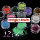 12 x Glitter Powder Dust for Nail Art + Free shipping!
