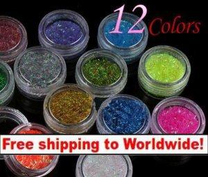 12 x Glitter Lace Powder for Nail Art + Free shipping!
