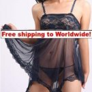 Sexy Shorts Lingerie Women Sleepwear BedGown + Free shipping to worldwide!