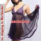 Sexy Hot Lingerie Purple Babydoll Silk Sleepwear Dress  + Free shipping to worldwide!