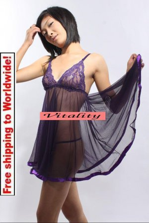 Sexy Hot Lingerie Purple Babydoll Silk Sleepwear Dress  + Free shipping to worldwide!