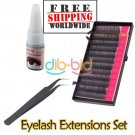 Eyelash Extensions Glue + Tweezer + False Eyelash Set BC + Free shipping to worldwide!