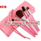 7Pcs Mineral Makeup Brushes  Case Set Pink BC + Free shipping to worldwide!