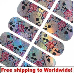 CrossBones and Rose Nail Patch BG+ Free shipping to worldwide!
