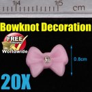 20x Pink Bowknot 3D Acrylic Nail BG+ Free shipping to worldwide!