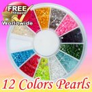 1600 Pearl 1.5mm/2mm nail Glitter Pearls BG+ Free shipping to worldwide!