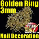 Golden Metal Circle Rings Nail 3mm BG+ Free shipping to worldwide!
