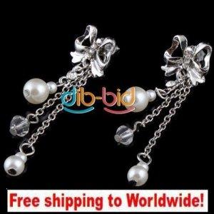 Earrings Charm Bead Butterfly Rhinestone Pearl + Free shipping to worldwide!