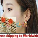Earrings Fashion Cute Girl's Double Ball Rhinestone Ear Studs+ Free shipping to worldwide!