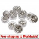 12 Small Box Silver Nail Art Powder Decoration Glitter BG+ Free shipping to worldwide!