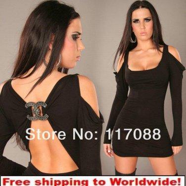 Black Ladies Mini Dress  Clubbing Wear + free shipping!