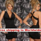 Black Deep V Outfit Stunning Halter Fashion Mini Dress + Free shipping to worldwide!