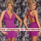 Purple Deep V Outfit Stunning Halter Fashion Mini Dress + Free shipping to worldwide!
