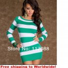 Hot Colored Strips Dress Green and White Sexy Mini dress + Free shipping to worldwide!